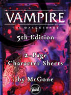 MrGone's Vampire the Masquerade Fifth Edition 2-Page Character Sheets