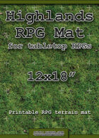 """RPG Battle Mat 12""""x18"""" - Highlands Grass"""