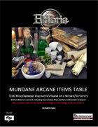Mundane Arcane Items Tables