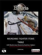 Mundane Fighter Items Tables