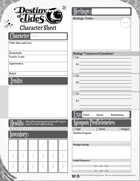 Destiny of Tides Character Sheet