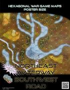 Hexagonal War Game Maps - Northeast Waterway Southwest Road