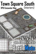 """Town Square South Interiors 24"""" x 24"""" RPG Encounter Map"""