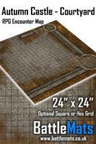 "Autumn Castle Courtyard 24"" x 24"" RPG Encounter Map"