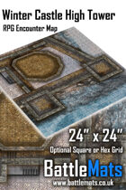 """Winter Castle High Tower 24"""" x 24"""" RPG Encounter Map"""