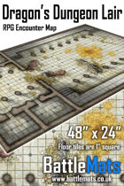 "Dragon's Dungeon Lair 48"" x 24"" RPG Encounter Map"