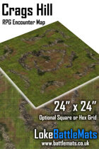 """Crags Hill 24"""" x 24"""" RPG Encounter Map"""