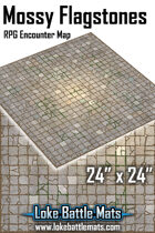 """Mossy Dungeon Flagstones 24"""" x 24"""" RPG Encounter Map"""
