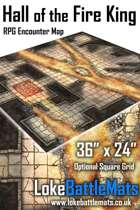 """Hall of the Fire King 36"""" x 24"""" RPG Encounter Map"""