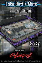 "Rooftop Helipad 24"" x 24"" Cyberpunk RED Map"
