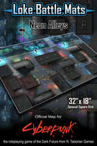 "Neon Alleys 32"" x 18"" Cyberpunk RED Map"