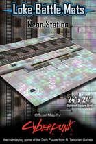 "Neon Station 24"" x 24"" Cyberpunk RED Map"