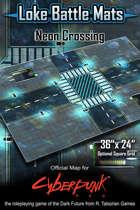 """Neon Crossing 36"""" x 24"""" Cyberpunk RED Battle Map"""