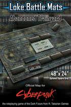 "Abandoned Trainyard 48"" x 24"" Cyberpunk RED Battle Map"