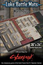 """Warehouse 36"""" x 24"""" Cyberpunk RED Battle Map"""