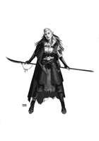 Female Fighter w Polearm - RPG Stock Art