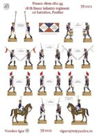 18-th linear infantry regiment. Chief of the 1st battalion. The banner of the battalion