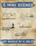 5 Mini Scenes Filler Stock Illustration