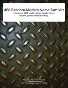 d66 Random Modern Name Sampler