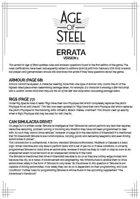 Age of Steel errata