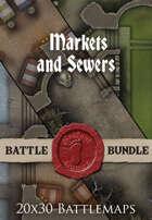 Markets and Sewers | 20x30 Battlemap [BUNDLE]