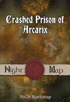 30x20 Battlemap - Crashed Prison of Arcarix (Night)