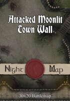 30x20 Battlemap - Attacked Moonlit Town Wall