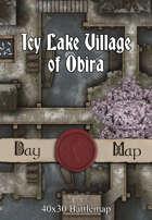 40x30 Battlemap - Icy Lake Village of Obira