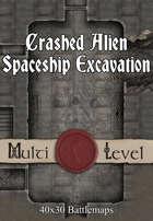 40x30 Multi-Level Battlemap -  Crashed Alien Spaceship Excavation