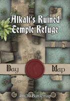40x30 Battlemap - Alkali's Ruined Temple Refuge