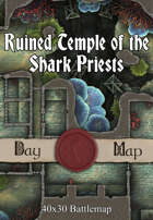 40x30 Battlemap - Ruined Temple of the Shark Priests