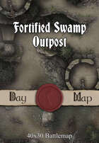 40x30 Battlemap - Fortified Swamp Outpost