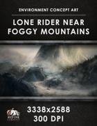 Environment Concept Art - Lone Rider Near Foggy Mountains