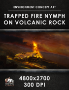 Environment Concept Art - Trapped Fire Nymph on Volcanic Rock