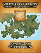Campaign Setting Map. Extreme Detail. Continent of Dark Mountains.