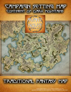 Traditional Fantasy Campaign map. Continent of Dark Mountains.