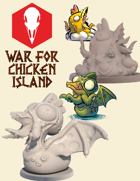 War for Chicken Island: Cluckthulhu and Yolk-Sothoth STL files