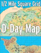 D-Day Map with 1/2 Mile Square Grid