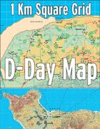 D-Day Map with 1 Kilometer Square Grid