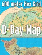 D-Day Map with 600 Meter Hex Grid