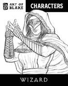 Character Stock Art - Wizard - Line Art
