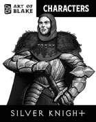 Character Stock Art - Silver Knight - Greyscale