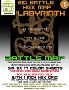 6 sheet BATTLEMAP HEX LABYRINTH empty