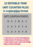 EDITABLE COLDWAR ERA EUROPEAN TANK Counters for replacement and extension of your own boardgames