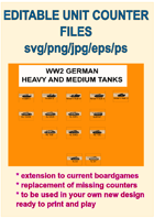 EDITABLE VECTOR GRAPHIC WW2 GERMAN TANK Unit Counters (Pz IV,V and VI Variants) for replacement and extension of your own boardgames