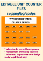 EDITABLE VECTOR GRAPHIC WW2 BRITISH CRUISER TANK UNITS Counters for replacement and extension of your own boardgames