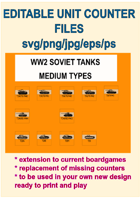 EDITABLE VECTOR GRAPHIC WW2 SOVIET MDM TANK Unit Counters for replacement and extension of your own boardgames