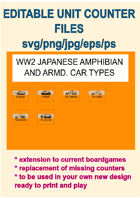 EDITABLE VECTOR GRAPHIC WW2 JAPANESE AMPHIBIAN AND AC Unit Counters for replacement and extension of your own boardgames