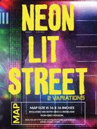 Neon Lit Street - Cyberpunk Battlemap