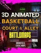 Animated Cyberpunk Basketball Court 3D